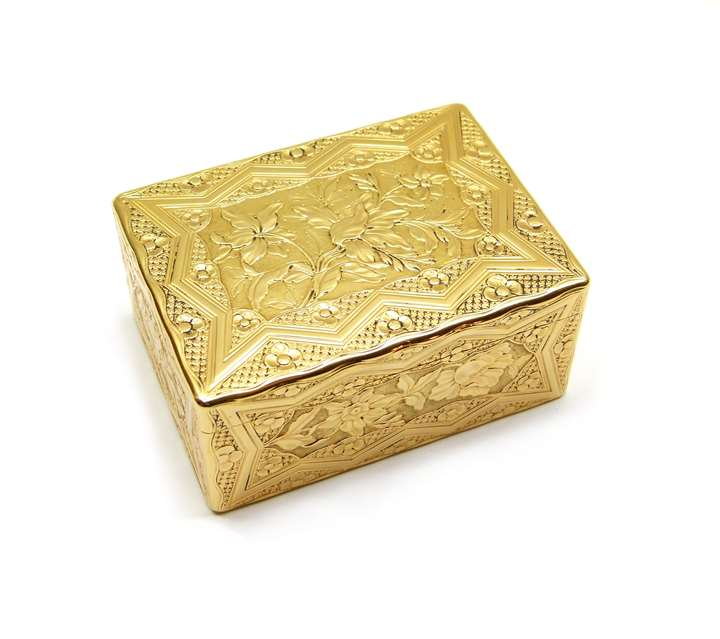 Louis XV rectangular chased gold box
